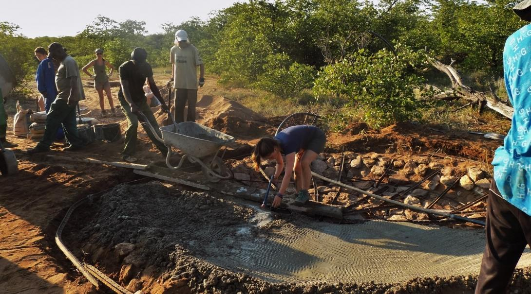 A group of volunteers work to dig a waterhole to help animals during drought season during their Transition Year in Africa.